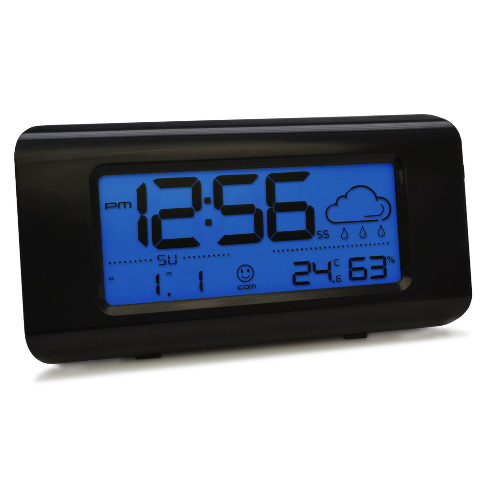 acctim clovis weather station alarm clock with lcd msf signal radio controlled ebay. Black Bedroom Furniture Sets. Home Design Ideas