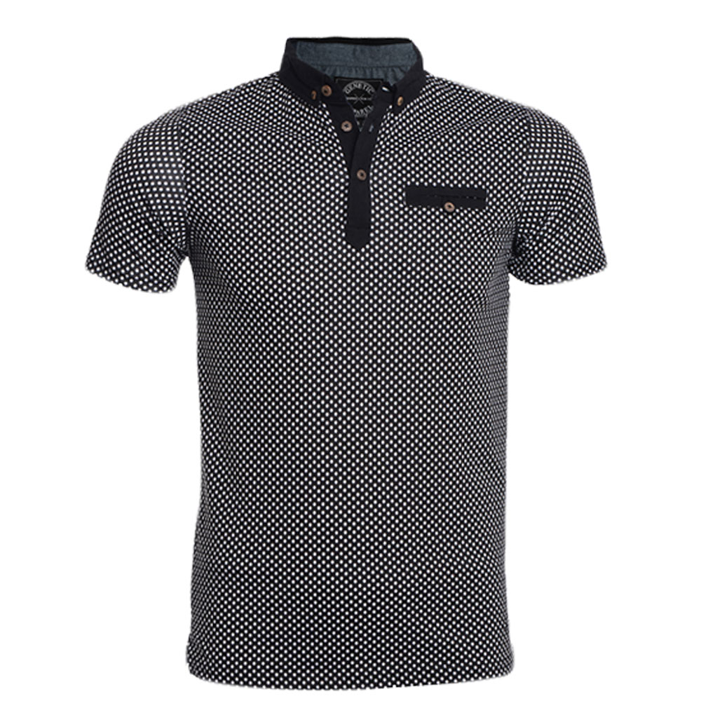 New Mens Polo Shirt Short Sleeve Polka Dot Top Designer