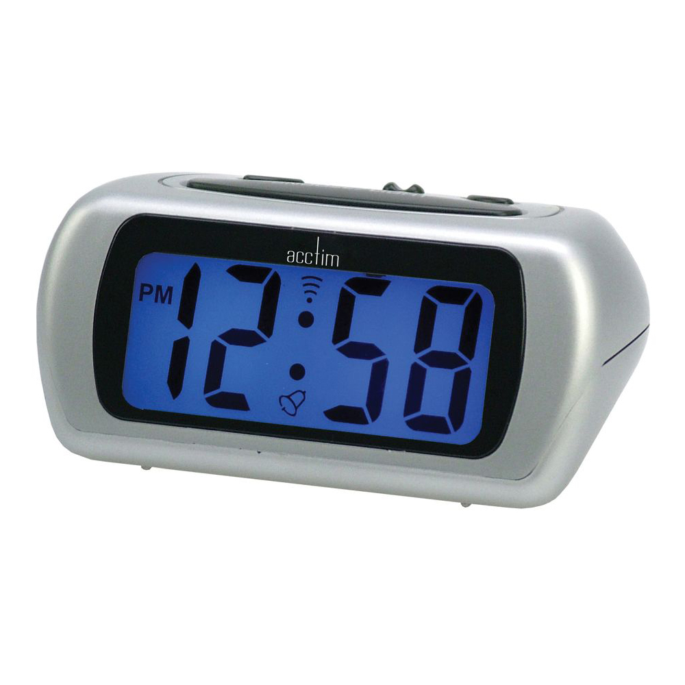 Acctim silver auric 12340 alarm clock blue lcd battery operated digital lighted ebay - Digital illuminated wall clocks ...