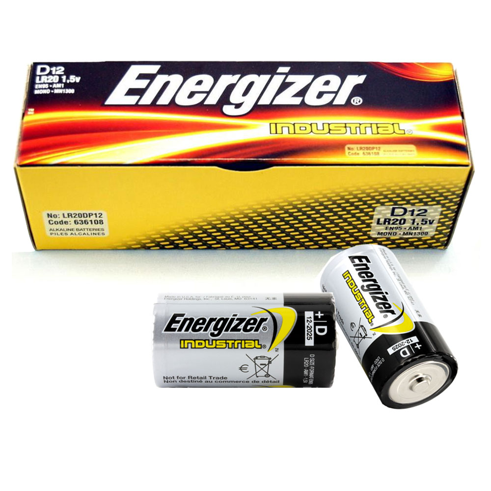 12x genuine energizer lr20 industrial d size battery 1 5 v. Black Bedroom Furniture Sets. Home Design Ideas