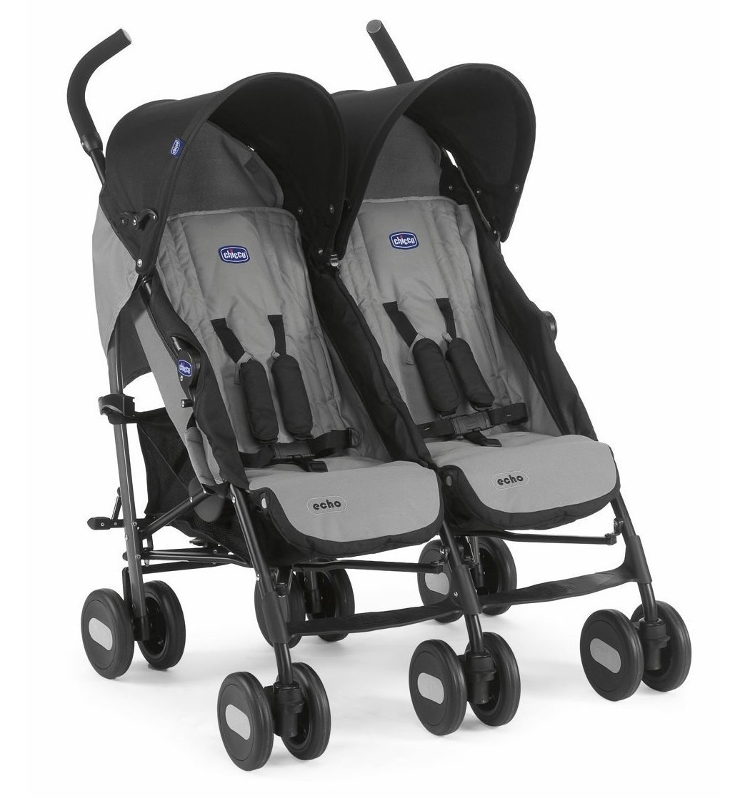 Chicco Echo Twin Stroller Double Baby Pushchair Coal Grey