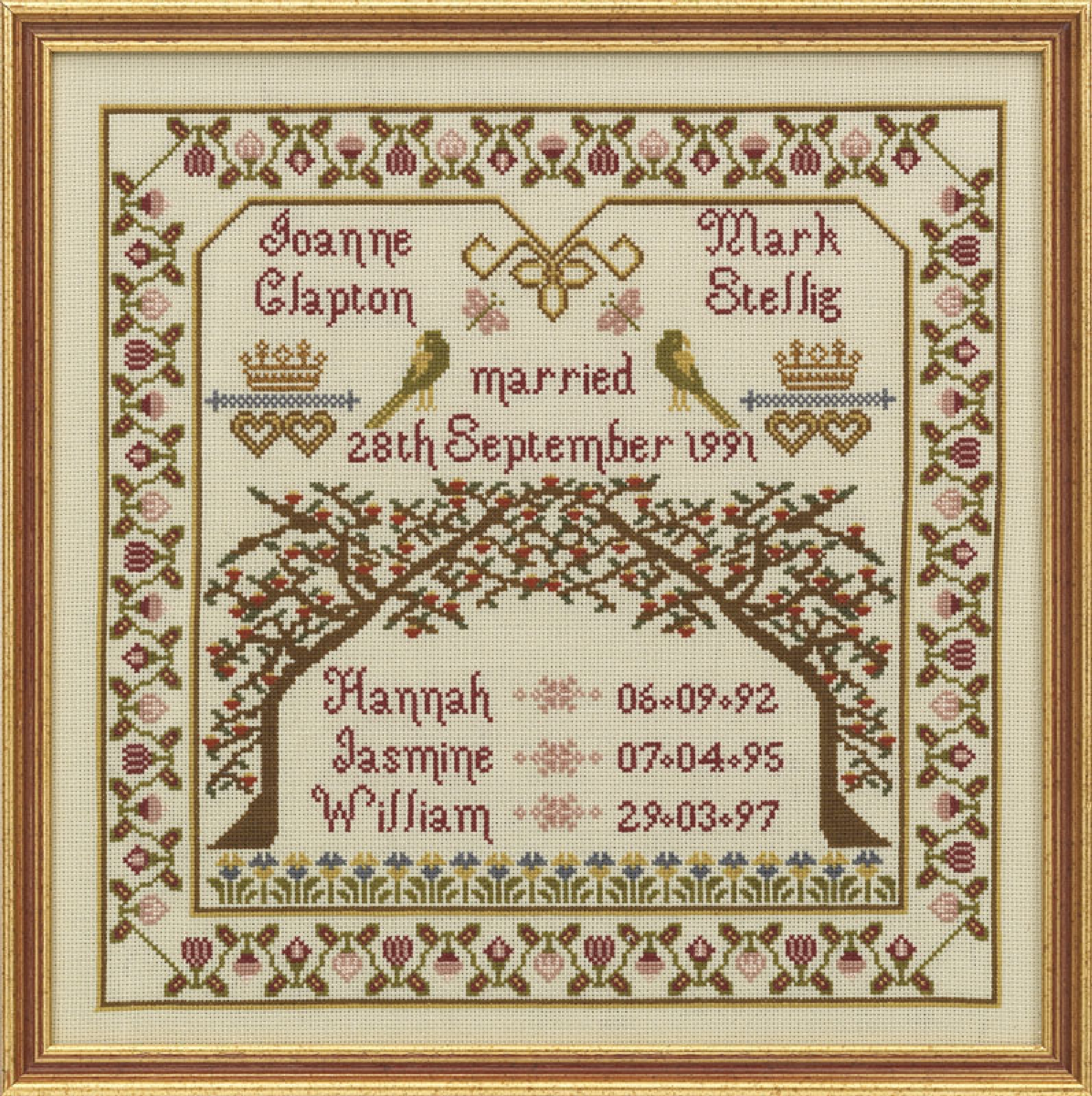 Hs counted cross stitch sampler kit family tree