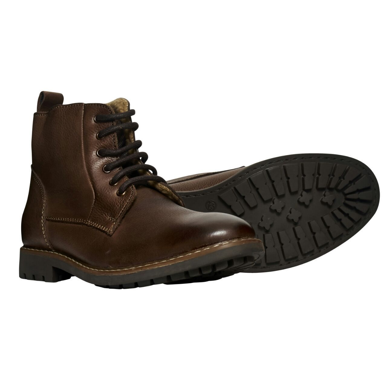 mens leather lace up comfy warm cosy winter ankle boots