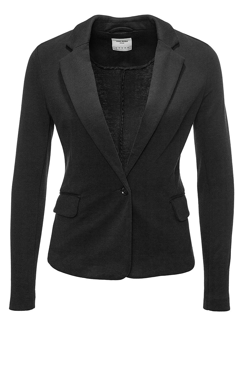 vero moda jersey damen blazer sakko business elegant b ro anzug schwarz xs xl ebay. Black Bedroom Furniture Sets. Home Design Ideas