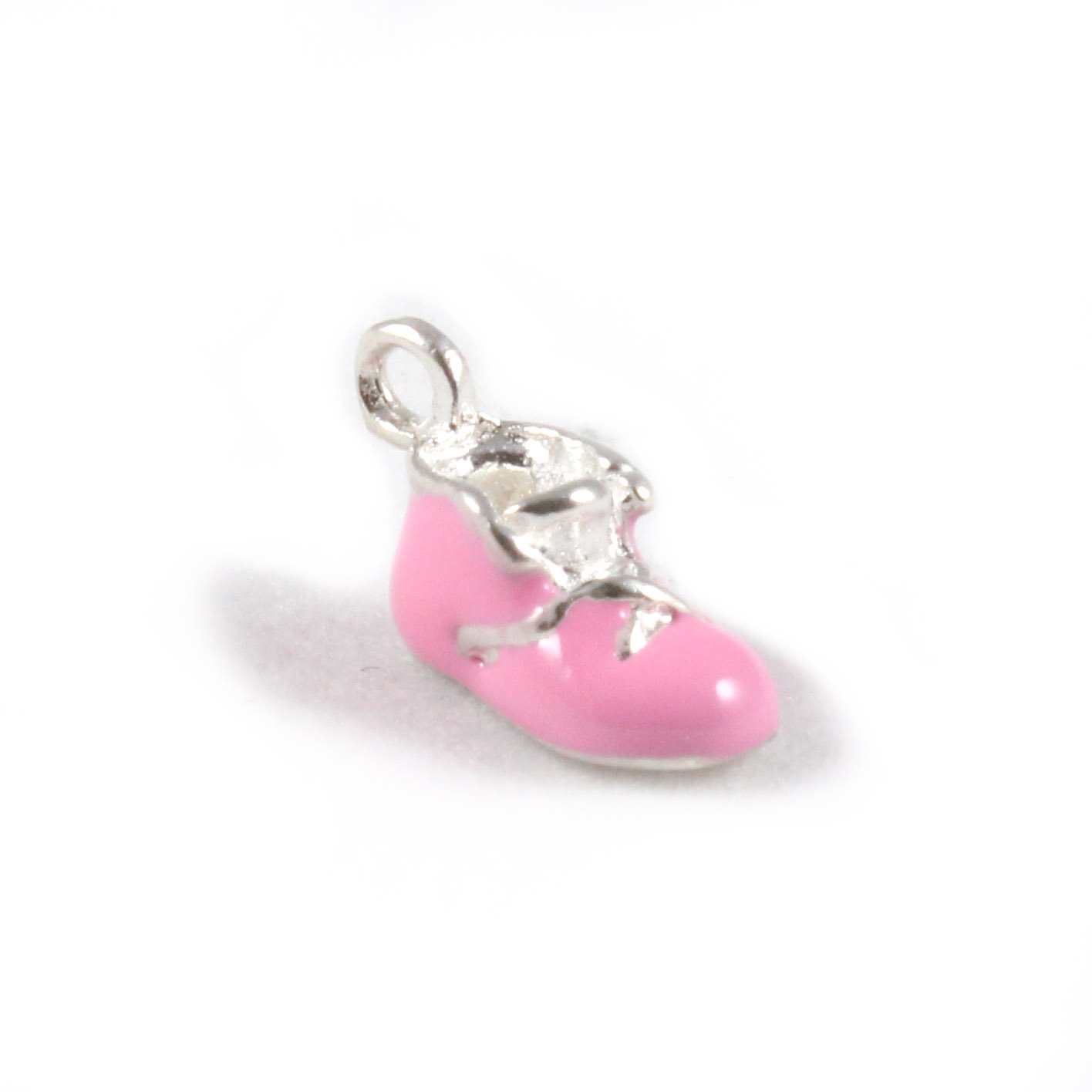 Pink Baby Shoe 3D Sterling Silver & Enamel Charms