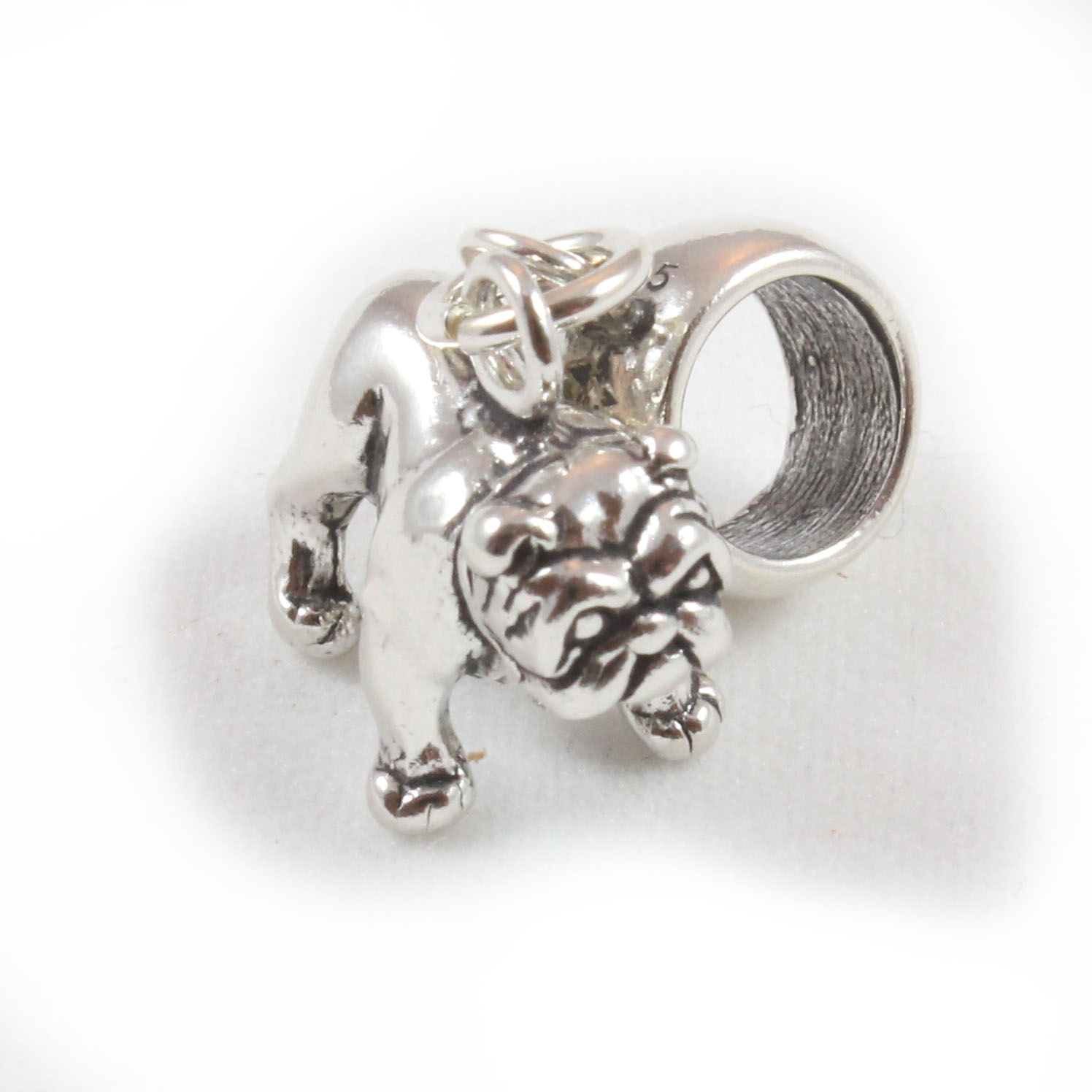 Sterling Silver Solid Bulldog Dangle Carrier Bead Charm
