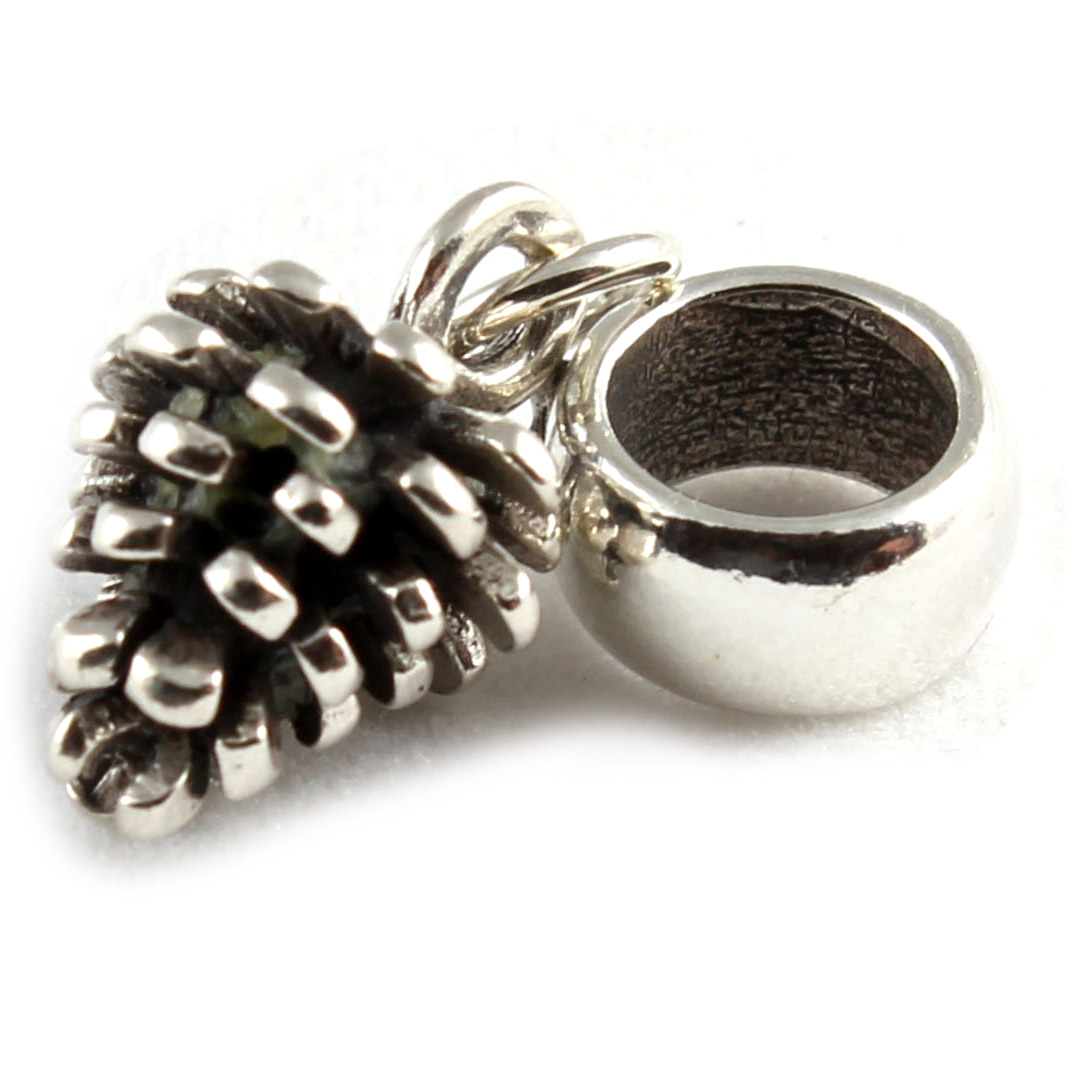 Pine Cone 3D 925 Sterling Silver Dangle Charms / Carrier ...