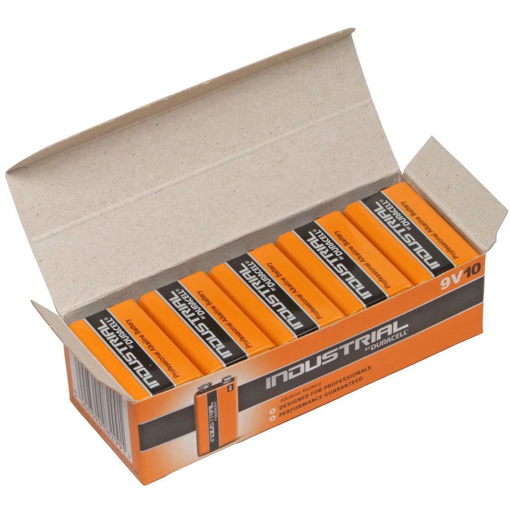 10x duracell industrial 9v pp3 block alkaline batteries mn1604 replaces procell ebay. Black Bedroom Furniture Sets. Home Design Ideas