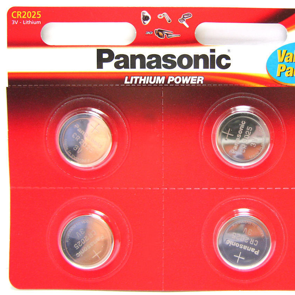 4x Panasonic Cr2025 Lithium Coin Cell Battery 3v For