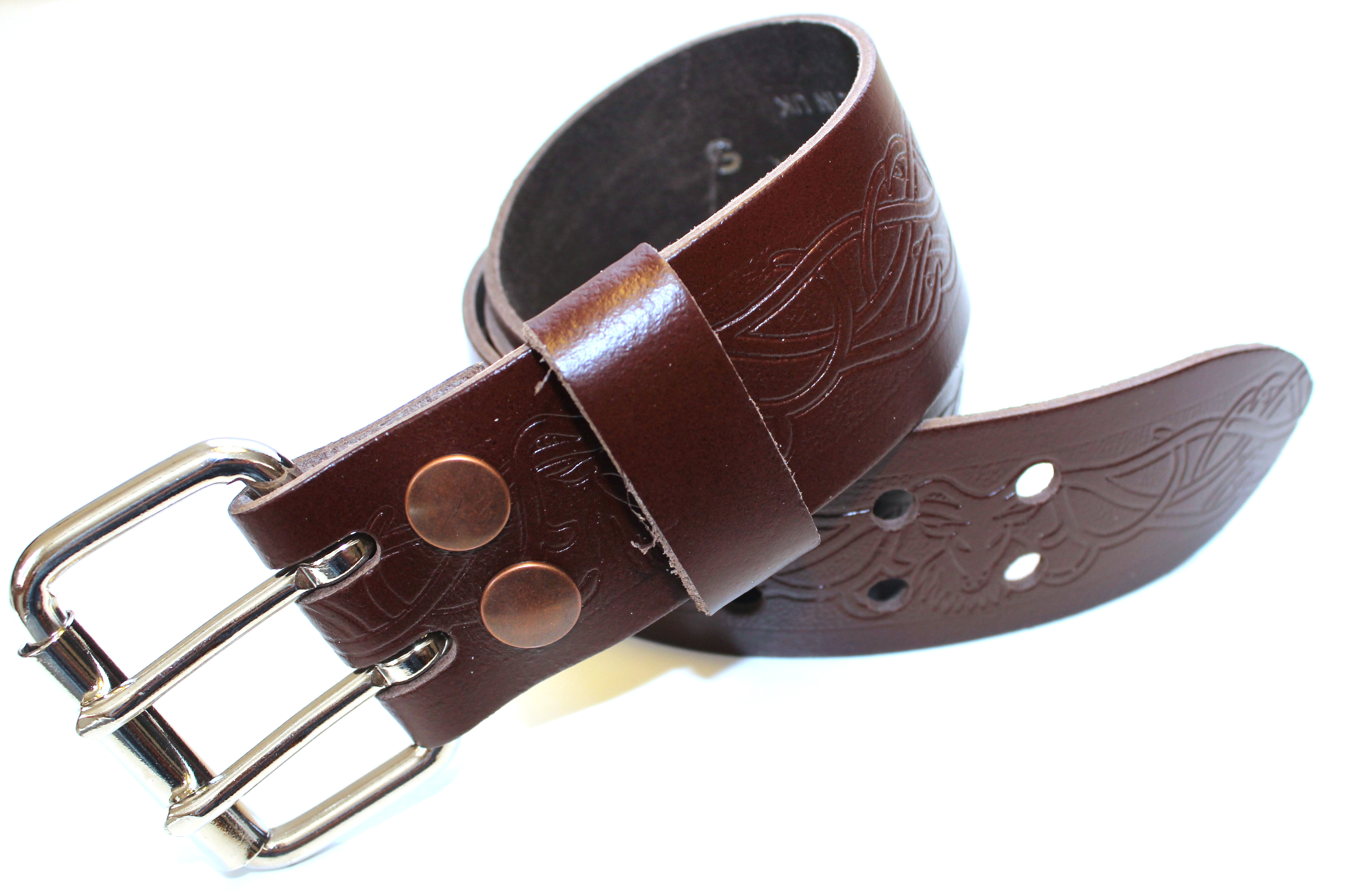 brown leather utility kilt belt with stag design