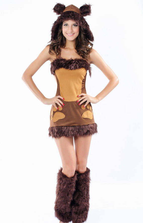 Details about Sexy Womens Bodacious Brown Bear Fancy Dress Costume Fur