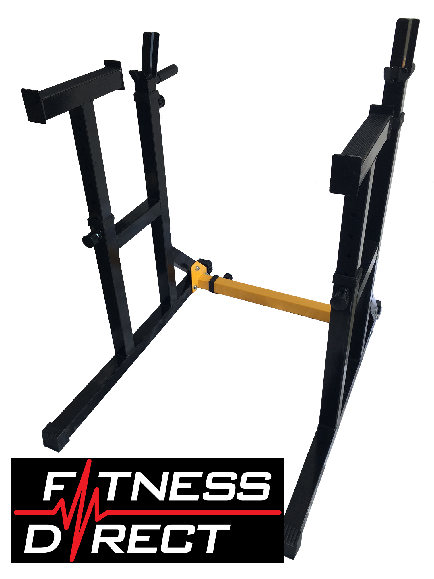 Fitness direct adjustable squat rack barbell stand dip