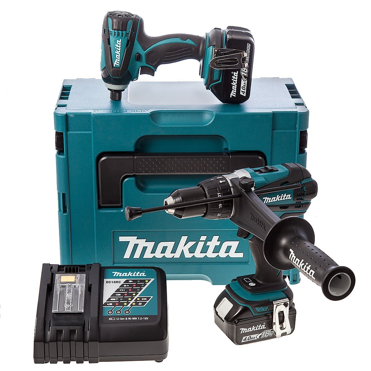 makita 18v twin pack combi drill impact driver with case. Black Bedroom Furniture Sets. Home Design Ideas