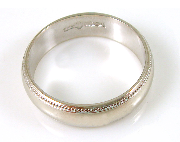 9ct White Gold Pre Owned Gents Beaded Wedding Ring Size S CH585 EBay